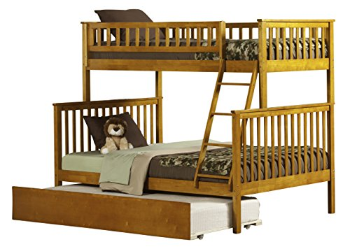 Atlantic Furniture Woodland Bunk Bed with Urban Trundle, Caramel Latte, Twin Over Full (Maple Bunk Twin Bed)
