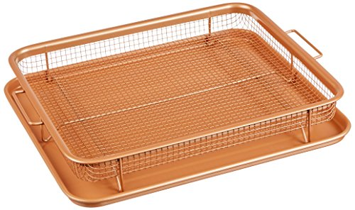 Gotham Steel 1463 Unique Elevated Nonstick Crisper Tray, Large, Brown