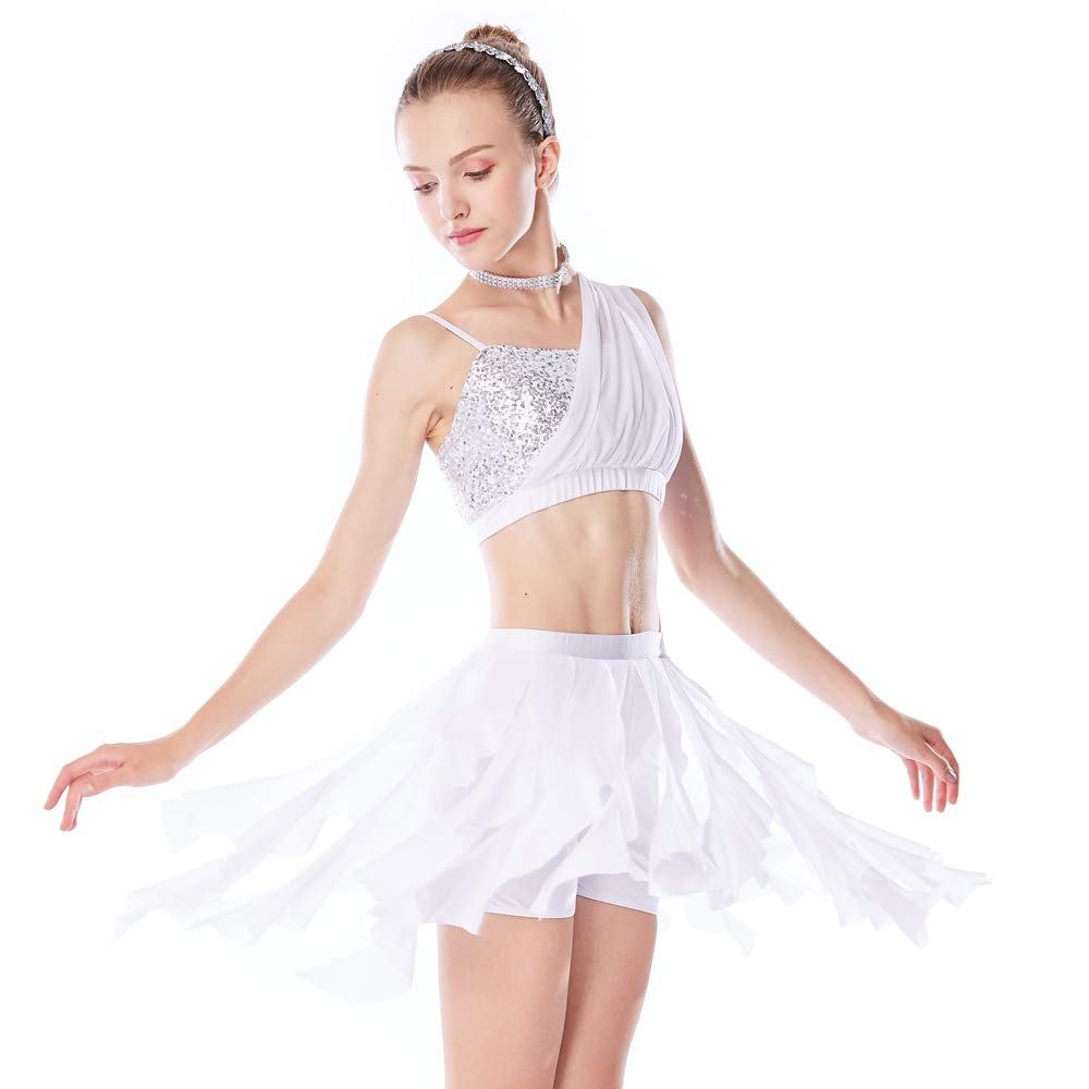 ff1a78518 MiDee Dance Costume 2 Pieces Sequins One Shoulder Diagonal Crop Top Spiral  Skirt (MC, White)
