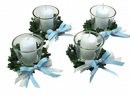 4er SET Kerze Votivglas Kerzenring Hellblau Junge Kommunion Taufe Tischdeko Geburt Kerzendeko ZauberDeko