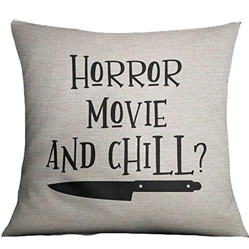 Horror Movie and Chill Pillows Covers 18x18inch Halloween Throw Cushion Covers Linen Cotton Pillowcase for Home Bed Couch Color:3 -