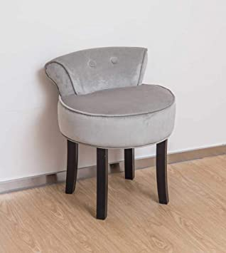 Other Grey Chenille Vanity Stool With Black Legs Bedroom Dressing Table  Chair