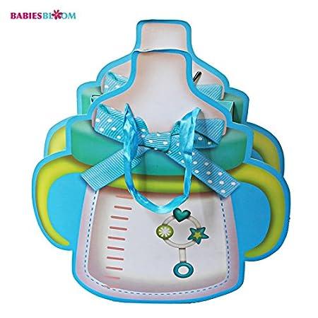 Babies Bloom Bottle Shaped Baby Shower Gift Bags, Blue (Set of 6)