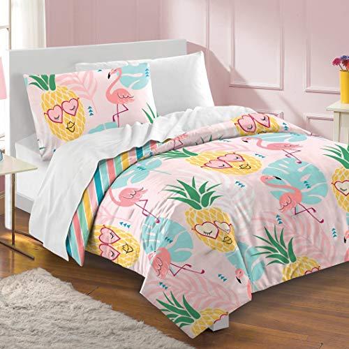 2 Piece Girls Pink Yellow Blue Tropic Oasis Comforter Twin Set, Kids Vibrant Tropical Theme Heart Eye Pineapple Flamingo Bedding, Fun Multi Color Stripe Themed Pattern, Cotton