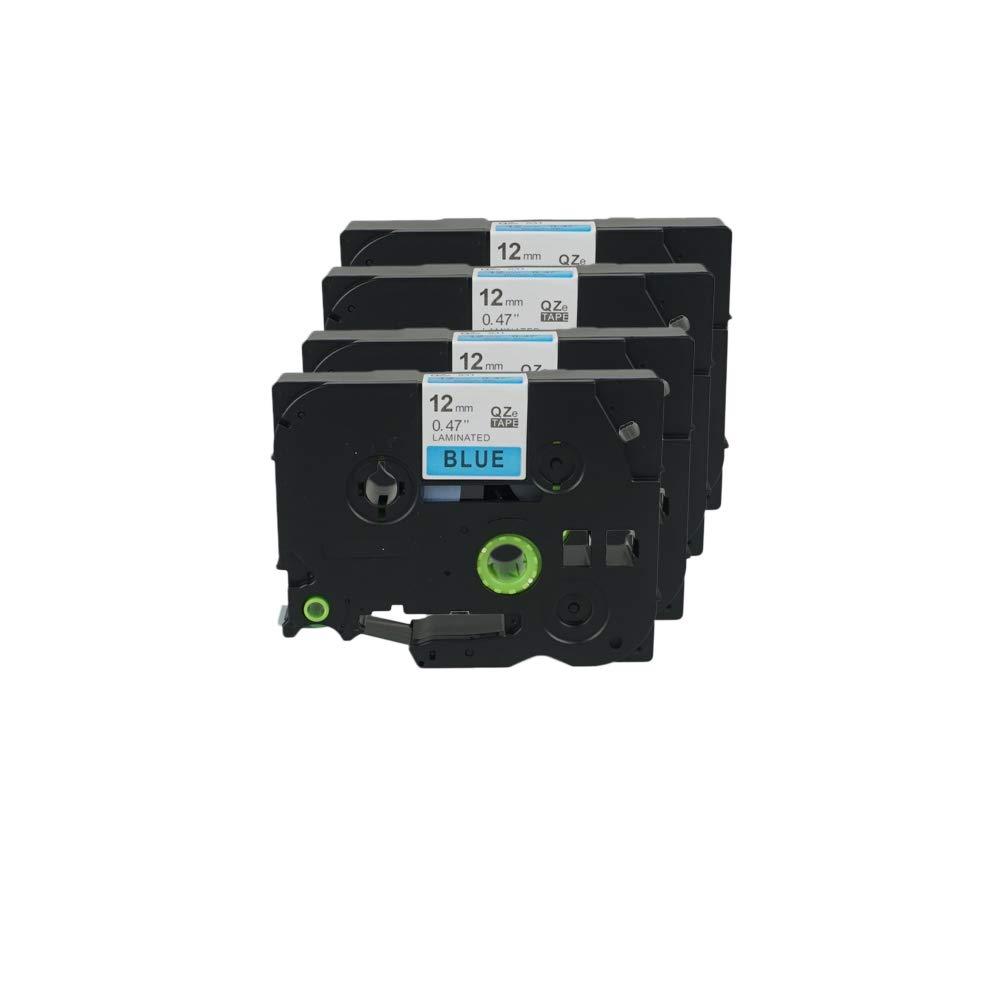 WonderTec 5 Pak 12 mm x 8m Sustituye cinta TZ TZ cinta 531 TZ531 etiqueta hermano compatible TZE531 TZE 531 Standard negro en cinta azul para Brother P-Touch PT-1000 1000P 1000BTS 1005 fd97b3