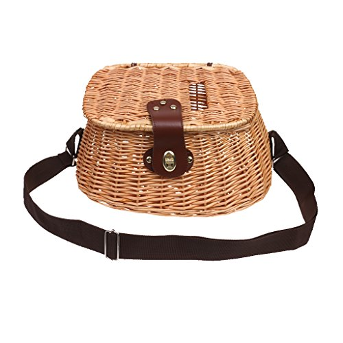 MonkeyJack Fish Basket Wicker Fishing Creel Tackle Vintage Bass Trout Perch Fish Brown