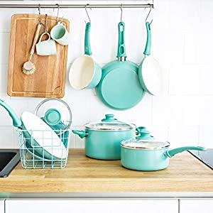 GreenLife Soft Grip 16pc Ceramic Non-Stick Cookware Set, Turquoise – CC001007-001