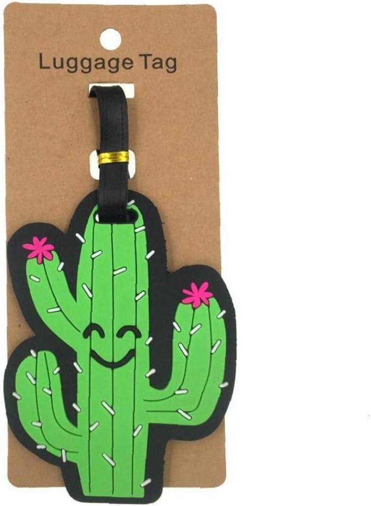 1pc Mignon Cactus Luggage Tag Femmes Accessoires Voyage Gel de silice Id Valise Adresse Porte-Bagages Tag Boarding /Étiquette Portable
