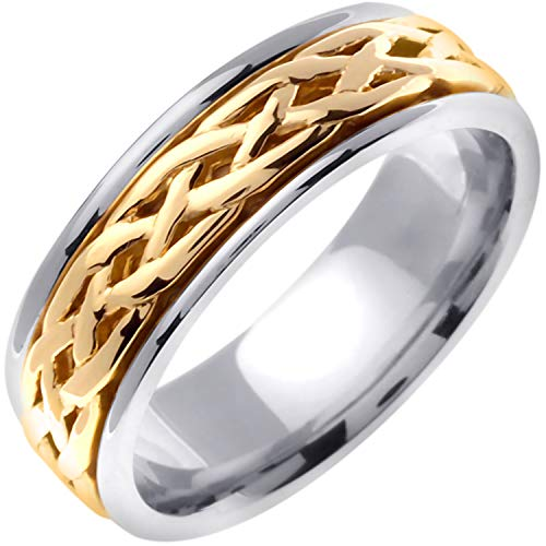 - 14K Two Tone (White and Yellow) Gold Celtic Infinity Knot Men's Wedding Band (6.5mm) Size-8.5c2