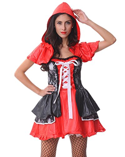 [RedExtend® Sexy Little Red Riding Hood Costume Fancy Party Dress Set Size L] (Red Furry Monster Costume)