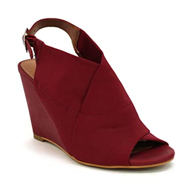 06dcae42eddc Image Unavailable. Image not available for. Colour  Lucky Brand Peep-Toe  Wedge ...