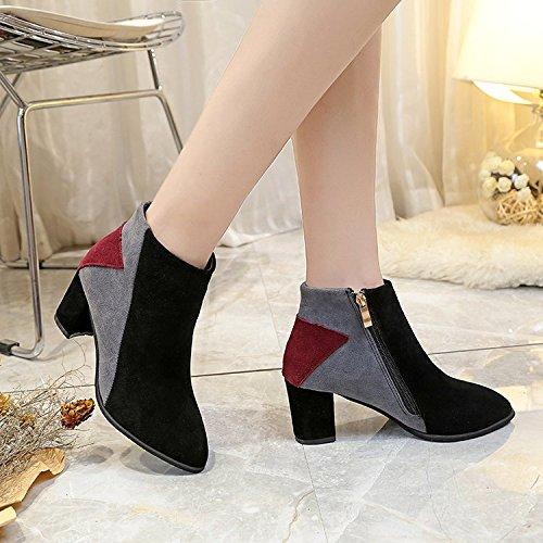 Printemps heel amp;FA bottes Printemps gray LGK et Dame couleur grossier chaussures d'amorçage rough hauts boots d'hiver talons les des nbsp;La avec cheville femme 40 de à 4FXqF
