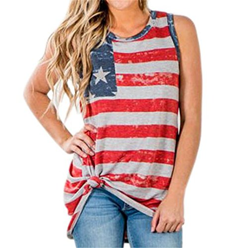 Hmlai Clothes for Fourth of July Women American Flag Print Sleeveless Tank Crop Tops Vest Blouse (Red, ()