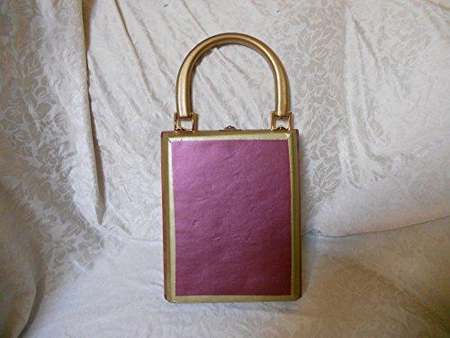 Cigarbox Purse, Fuschia Embossed Leather, Tina Marie Purse Purse, Vintage.