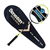 Senston Single Carbon Fiber Badminton Racquet High String Badminton Racket Yellow with Racket Cover