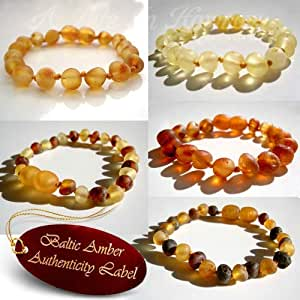 RAW BALTIC AMBER Baby Teething Bracelets Anklets (7 COLOURS) - RAW AMBER provides the strongest benefit for your child - AGbA® Certified Raw Amber - for Teething Pain, Drooling, Anxiety - Highest Quality + Genuine Certification + 24 Hours Ship (13-16cm) (PEACH - Raw Amber)