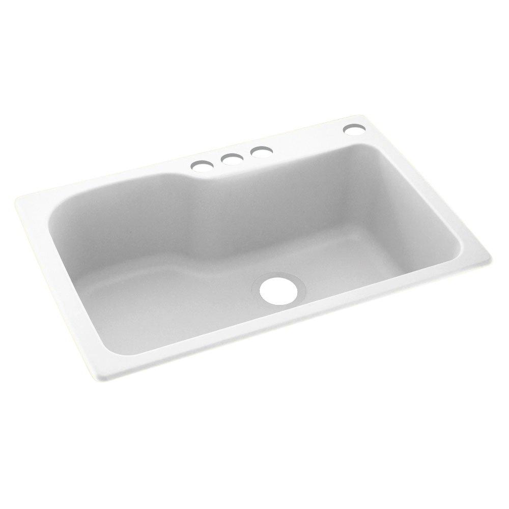 "Swanstone KS03322SB.010-4 4-Hole Solid Surface Kitchen Sink, 33"" x 22"", White"