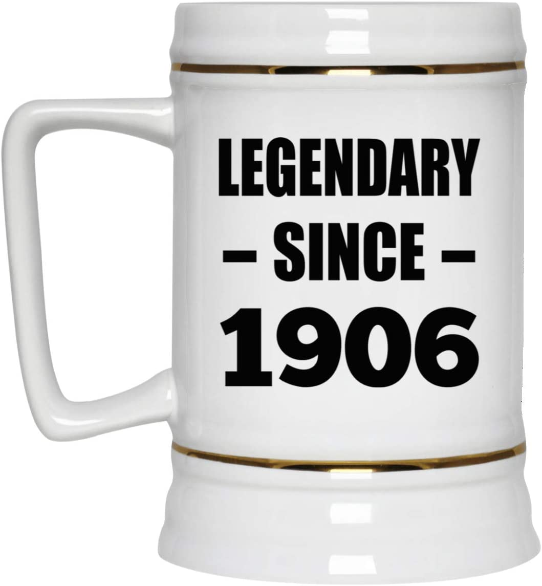 114th Birthday Legendary Since 1906-22oz Beer Stein Ceramic Bar Mug Tankard High Quality - Gift for Friend Kid Daughter Son Grand-Dad Mom Jarra de Cerveza, de Cerámica - Regalo para Cumpleaños A