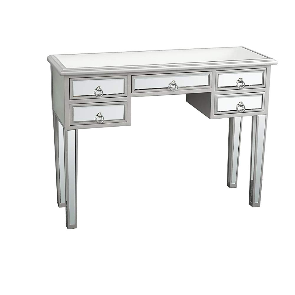 SSLine Mirrored Makeup Desk Vanity Dressing Table with 5 Drawers Deluxe Modern Glass Entryway Console Table Writing Desk by SSLine