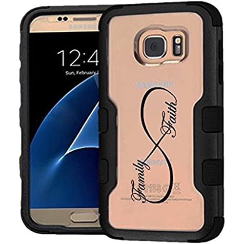 Galaxy S7 Case - Extra Shock-Absorb Clear back panel + Engineered TPU bumper 3 layer protection for Samsung Galaxy S7 (New 2016) Black Cover (Infinity Sales