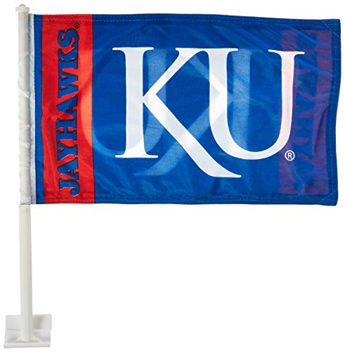 NCAA Kansas Jayhawks Car Flag KU Logo with Free Wall Bracket
