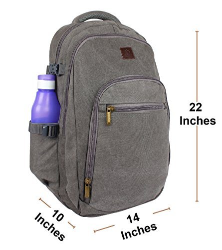 Rustic Town Canvas backpack book laptop bags rucksack for student kids men women (Gray) by RusticTown (Image #2)