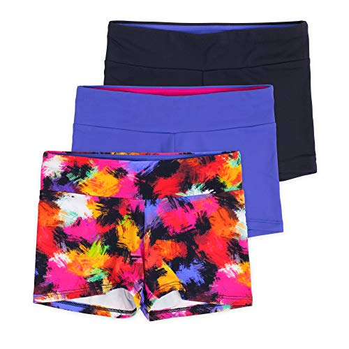 Layla Girls Dance Shorts, Gymnastics & Dancewear, 3-Pack, Graffiti, 7/8]()