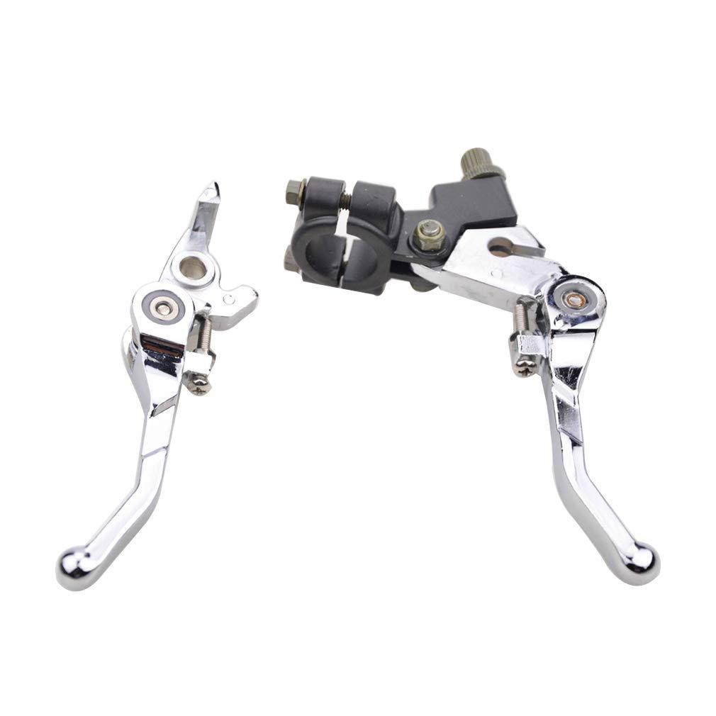 GOOFIT Embrague Hidraulico Moto Universal Manillar 22mm Plegable Kit Palanca y Freno Pit Bike para 50cc 70cc 90cc 110cc 125cc Scooter ATV Quad Plata: ...