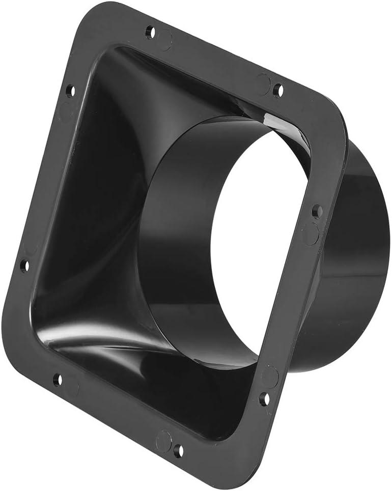 sourcing map Negro Conducto Conector Cuadrada Brida ABS Pl/ástico Aire Salida Entrada Adaptador para 3.94Pulgadas Di/ámetro Manguera
