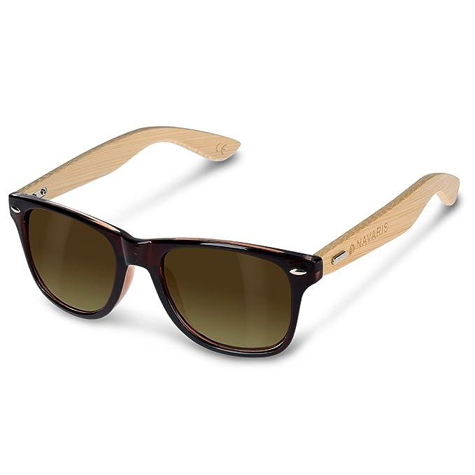 Navaris occhiali da sole in legno UV400 - occhiali con astine in bambù unisex uomo donna - con custodia vintage - diversi colori