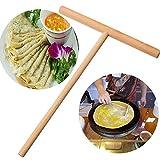 SODIAL Practial T Shape Crepe Maker Pancake Batter Wooden Spreader Stick Home Kitchen Tool Kit DIY Use 1pc
