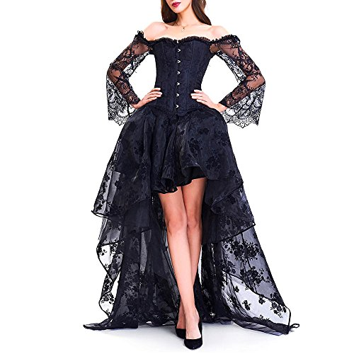 Long Sleeve Corset Top with High Low Skirt (Black, M) (Corset Dress)
