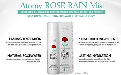 - Atomy Rose Rain Mist-All-In-One Effect Of Toner+Essence+Nutrition In One Essential Mist- Korean Original (130ml)
