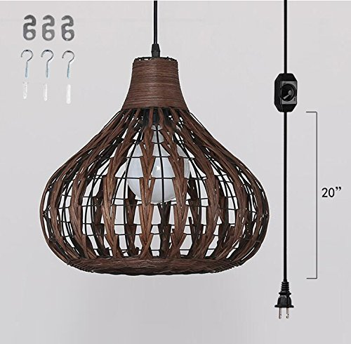 Rattan Pendant Lamp (Kiven Plug-In Bamboo rattan Chandelier Pendant lighting E26 base dimmable lamp 15 Foot black Cord with Dimmer Switch bulb not included ul listed (TB0241))