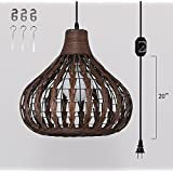 Kiven Plug-In Bamboo rattan Chandelier Pendant lighting E26 base dimmable lamp 15 Foot black Cord with Dimmer Switch bulb not included ul listed (TB0241)