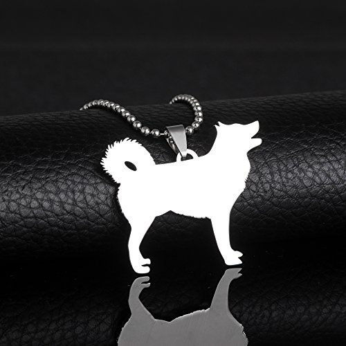 Stainless Steel Alaskan Malamute Siberian Husky Outline Pet Dog Tag Breed Collar Charm Pendant and (Alaskan Malamute Siberian Husky)