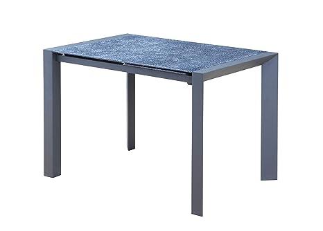 Tavolo Industriale Allungabile : Meubletmoi tavolo allungabile in vetro grigio stile pietra ardesia