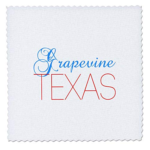 3dRose Alexis Design - American Cities Texas - Grapevine, Texas, red, Blue Text. Patriotic Home Town Design - 20x20 inch Quilt Square ()