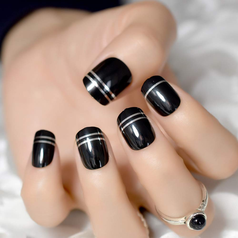Amazon.com : Black UV Gel Cover Nail Art Tips Silver Metallic Line Decoration Short Press On Nails Quality Manicure Tips For Ladies Finger Z723 : Beauty