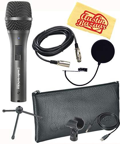 Audio-Technica AT2005USB Cardioid Dynamic USB/XLR Microphone Bundle with Pop Filter, XLR Cable, and Austin Bazaar Polishing Cloth