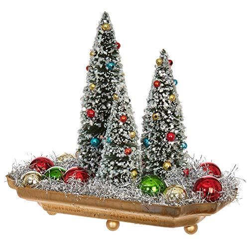 "RAZ Imports Raz 8"" Bottle Brush Trees in Dish Christmas Figure 3801949"