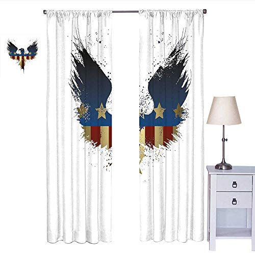 W Machine Sky Eagle Kitchen Curtain The American Flag on Silhouette of National Bird of The Country Majestic Animal Drapes Panels Blue Red Sepia W72 x L84 ()