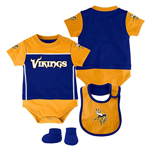 NFL Minnesota Vikings Creeper/Bib and Bootie Set, Youth 3-6 Months, Regal Purple