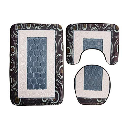OZYN Bath Mat Rugs Set 3 Three-Piece Bathroom Mat Flannel Water Absorption 3D Printing Toilet Seat Cushion Bathroom Mat Bottom Cushion (Color : Grey) ()