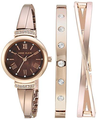 Anne Klein Women's AK/2245BRST Swarovski Crystal Accented Rose Gold-Tone and Light Brown Watch and Bracelet Set (Crystal Set Swarovski)