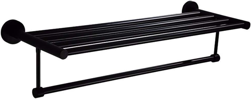 Barra de toalla de acero inoxidable 304 Europeo Negro Toallero Baño Doble Estante 50 CM Toalla colgando