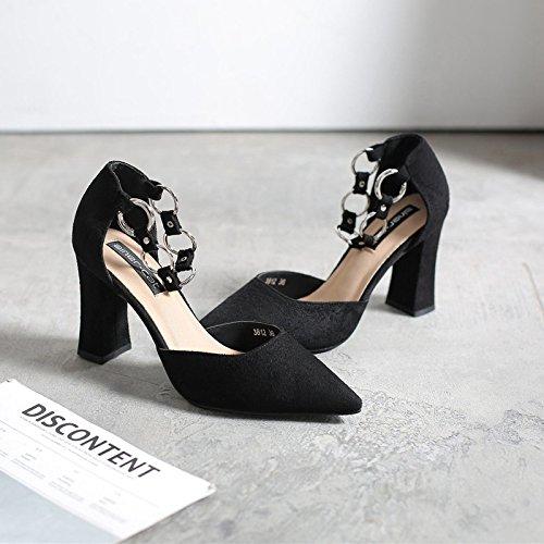 cava scarpe alti tacchi con in satinato la con scarpe di scarpe i una spesso 39 scarpe sandali di nero singole con molla metallo Tirante donna punta asolato qZwSHf
