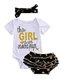 Newborn Baby Girl Letters Bodysuit + Ruffle Shorts + Dot Headband Clothes Outfit