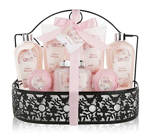 Spa Gift Basket with Heavenly Cherry Blossom Fragrance - Bath Set Includes Shower Gel, Bubble Bath, Bath Salts, Bath Bombs and more! Great Wedding, Anniversary, Birthday or Graduation Gift for Women (Gift Ideas For Women 20s)