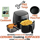 LOUISE STURHLING All-Natural Healthy Ceramic Coated 4.0L Air Fryer. BPA-FREE, PTFE & PFOA-FREE, 7-in-1 Pre-programmed One-touch Settings, Exclusive BONUS Items – FREE COOKBOOK, TONGS & PIZZA PAN Review
